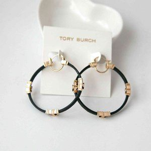 Tory Burch Black/Gold Serif T Leather Hoop Earring